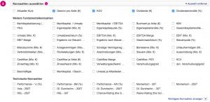 OnVista Stock Screener: Kennzahlen auswählen