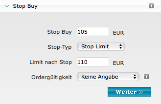 "Stop Buy Order vom Typ ""Stop Limit"""