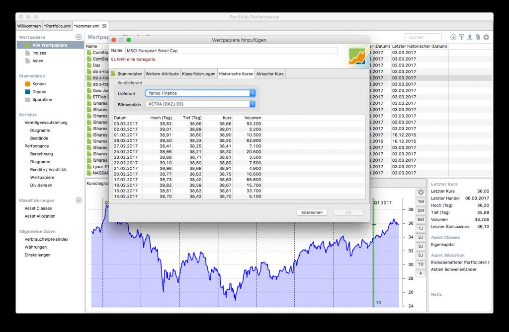 Hier siehst Du die historischen Kurse wie sie von Yahoo Finance für den Börsenplatz XETRA geliefert werden.